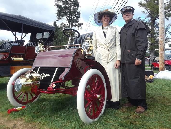 Woman and Man with 1920s Car